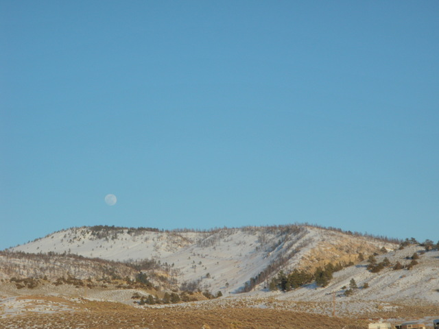 The Moon Above Wyoming Horizon