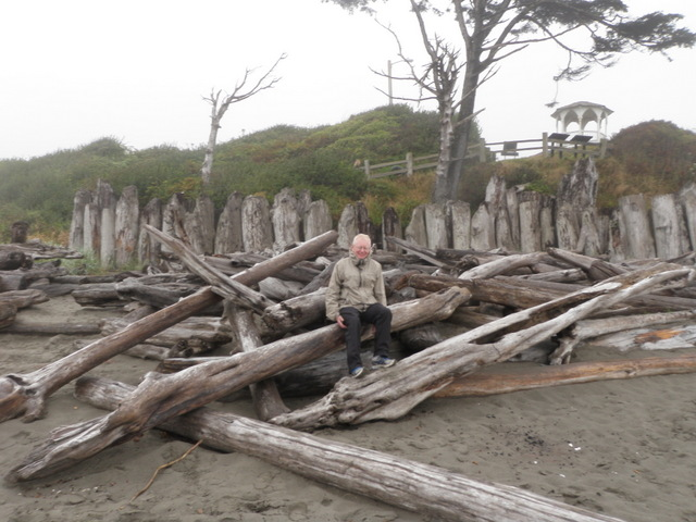 Dave Rests on Drift Logs at Kalaloch Beach